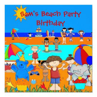 子供の誕生日のパーティーのビーチの女の子の男の子の子供 カード