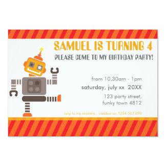 子供の誕生日のパーティーの招待のかわいい踊りのロボット カード