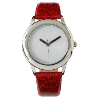子供の赤いグリッターの革紐の腕時計 腕時計