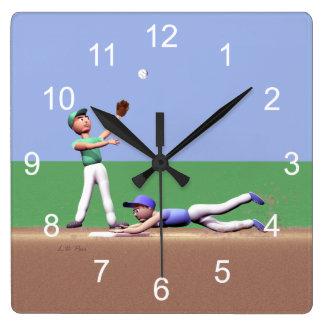 子供の野球選手 スクエア壁時計