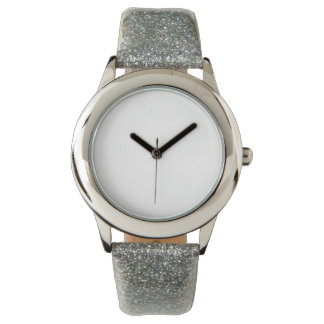 子供の銀製のグリッターの革紐の腕時計 腕時計