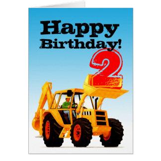 子供の黄色い坑夫の第2誕生日 カード