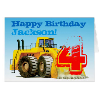 子供の黄色い坑夫の第4誕生日 カード