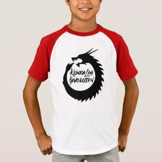 子供のKundaliniの改革の赤い袖の黒のドラゴン Tシャツ