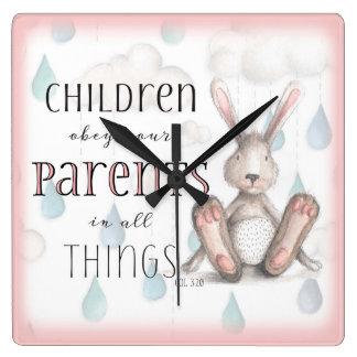 子供はあなたの親Colの3:20のピンクに従います スクエア壁時計