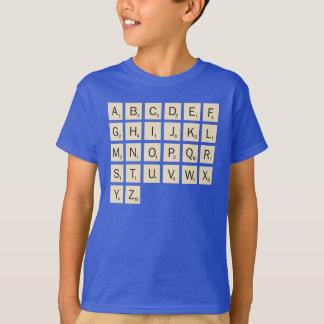 子供は名前入りなスクラブルを着色しました Tシャツ