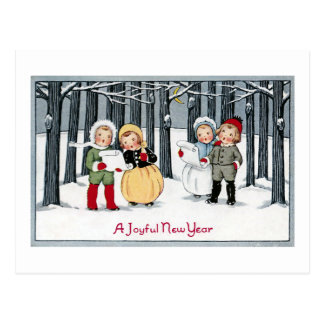 子供は新年に歌います ポストカード