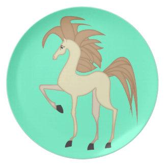子供は漫画の馬のデザインとめっきします プレート