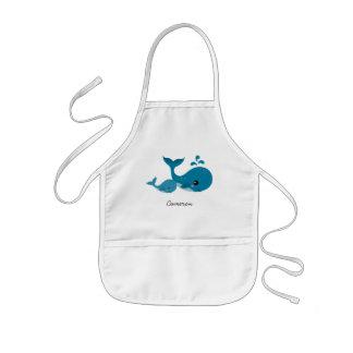 子供へかわいいクジラおよび名前入りな一流のエプロン 子供用エプロン