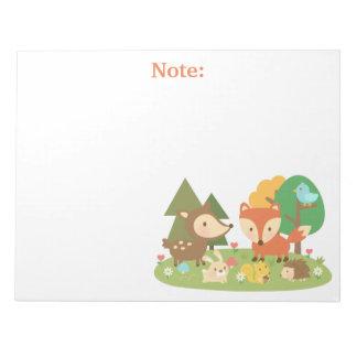 子供へかわいい森林森林動物 ノートパッド
