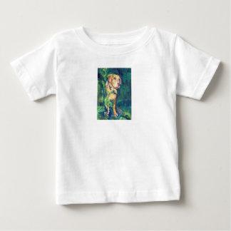 子供へイエロー・ラブラドール・レトリーバーの入り江の絵画のTシャツ ベビーTシャツ