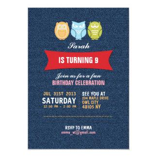 子供へデニムのフクロウの漫画の誕生日の招待状 カード