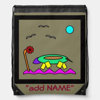 子供へトカゲの抽象美術 ナップサック