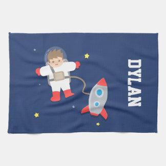 子供へロケットの船の宇宙の小さい宇宙飛行士 キッチンタオル