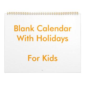 子供へ休日の大きい黄色のブランクのカレンダー カレンダー