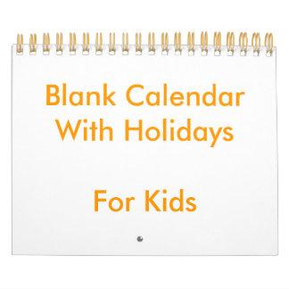 子供へ休日の小さい黄色のブランクのカレンダー カレンダー