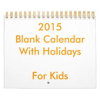 子供へ休日の小さい2015空白のなカレンダー カレンダー