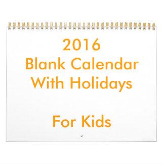 子供へ休日の2016空白のなカレンダー カレンダー
