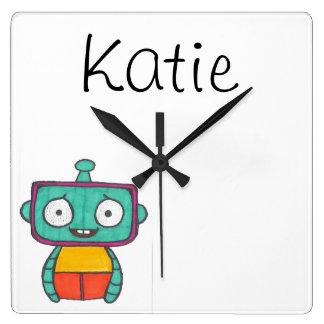 子供へ名前入りな時計-ロボットテーマ スクエア壁時計
