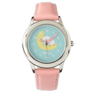 子供へ月のかわいい睡眠の小さい子ヒツジ 腕時計