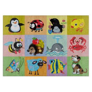 子供へ漫画動物 カッティングボード