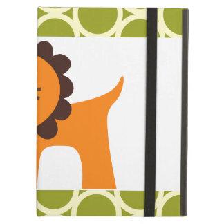 子供へ緑パターンギフトのかわいいライオン iPad AIRケース