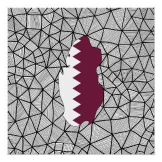 子供へ: 地図が付いているカタールの創造的な旗 ポスター
