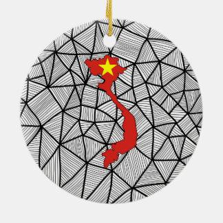 子供へ: 地図が付いているベトナムの創造的な旗 セラミックオーナメント