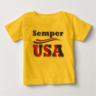 子供へSemper米国のティーアメリカのストライプなTシャツ ベビーTシャツ