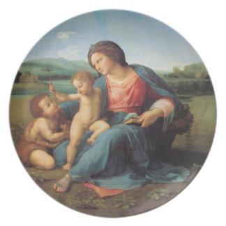子供イエス・キリストおよび聖母マリアを持つ洗礼者ヨハネ プレート