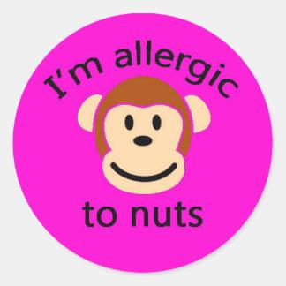 子供ピンク猿のアレルギー警報ステッカー ラウンドシール