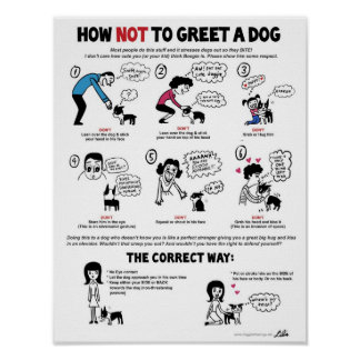"""子供フレンドリーな犬(11"""" x 14"""")に挨拶しない方法 ポスター"""