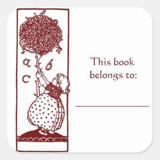 子供及びアルファベットの木の蔵書票のステッカー スクエアシール