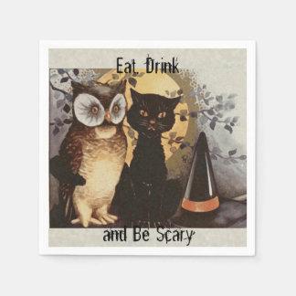 子供帽子のためのハロウィンのフクロウ、黒猫および魔法使い スタンダードカクテルナプキン