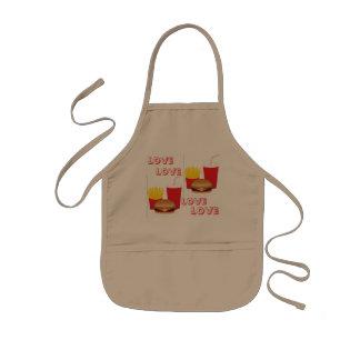 子供愛ハンバーガー及び揚げ物のエプロン 子供用エプロン