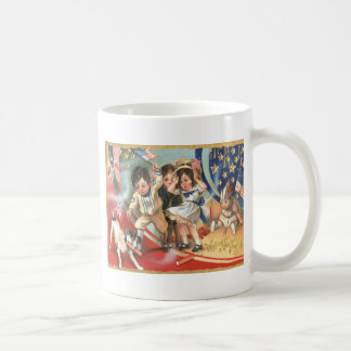 子供米国の旗犬の花火の爆竹 コーヒーマグカップ