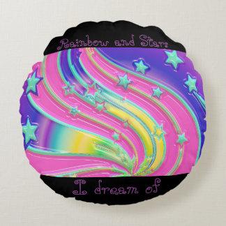 子供虹および星の枕 ラウンドクッション