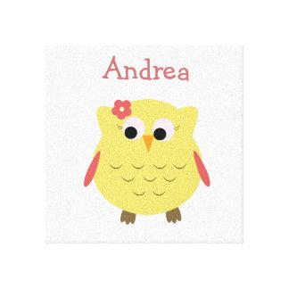 子供部屋のためのかわいいフクロウの女の子 キャンバスプリント
