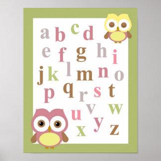 子供部屋のアルファベットの女の赤ちゃんのフクロウの壁の芸術 ポスター