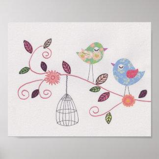 子供部屋のコラージュの芸術の小さい小鳥 ポスター