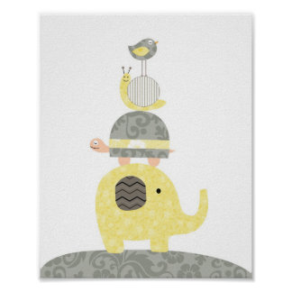 子供部屋の芸術のイラストレーション象鳥のカメ ポスター