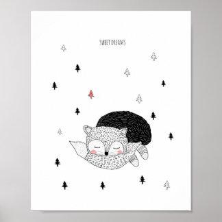 子供部屋の芸術、キツネのイラストレーション、甘美な夢 ポスター