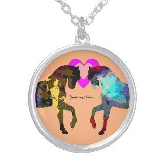 子供馬およびハート シルバープレートネックレス