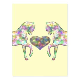 子供馬および愛ハート ポストカード
