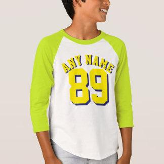 子供|のスポーツのジャージーの白く及び黄色のデザイン Tシャツ