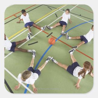 子供|着席|床|スポーツ|ホール 正方形シール・ステッカー