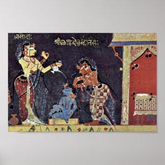 子供Krishna、Bhagavata-Puraを浸すYashoda ポスター