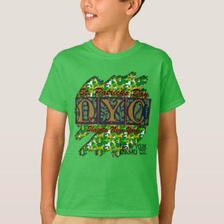 子供NYの迷彩柄Co Slainte St Patの迷彩柄の摩擦T Tシャツ