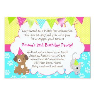 子犬および子ネコの招待状の女の子の誕生会 カード