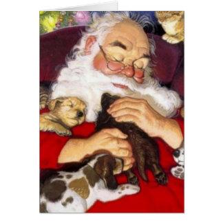 子犬と眠っているヴィンテージサンタ カード